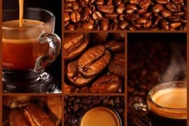 Collage of espresso and coffee beans