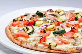 Grilled Vegetable Pizza with Tomato, Zucchini and Onions