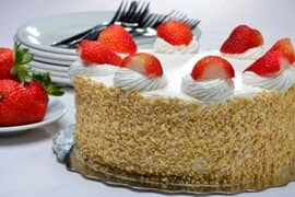 Vanilla cake with Strawberries on top