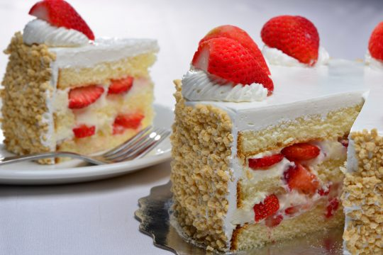 Slices of strawberry cake