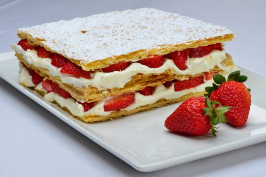 Strawberry filled pastry